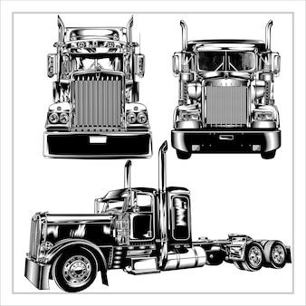 Набор графических иллюстрации современный грузовик