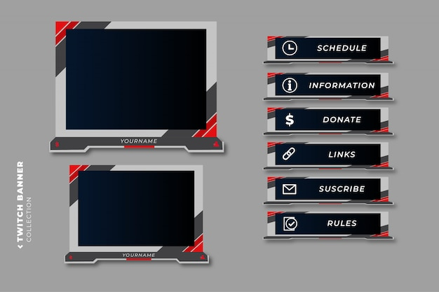Set of modern twitch gaming panels for ui design template