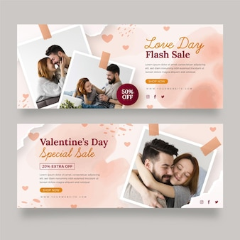Set of modern valentine's day banners with photo