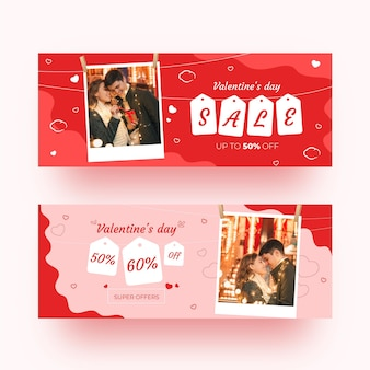 Set of modern valentine's day banners
