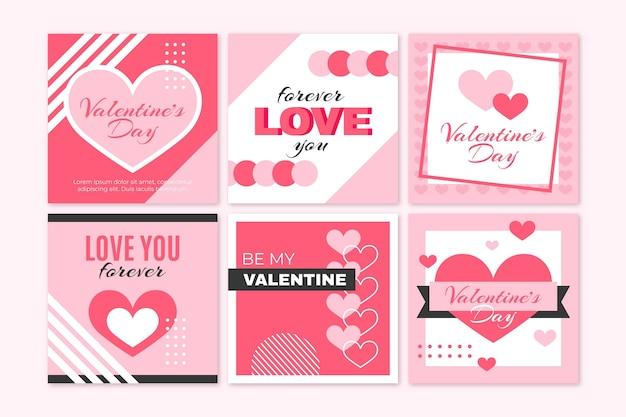 Set of modern valentine's day posts
