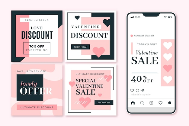 Set of modern valentine's day sale posts template