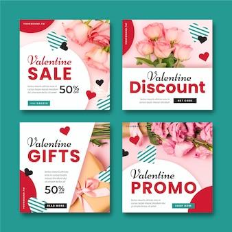 Set of modern valentine's day sale posts