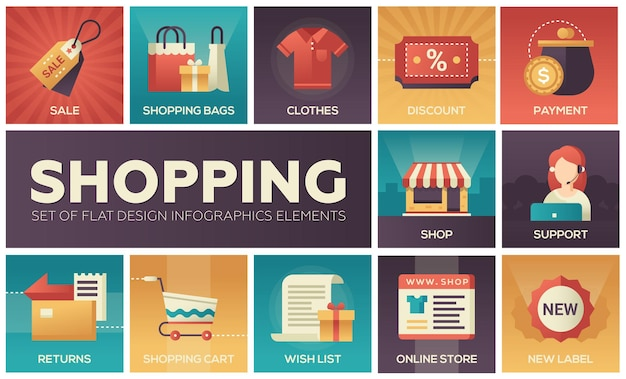 Set of modern vector flat design icons of shopping process elements with gradient colors
