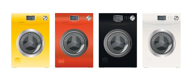 Set of modern washing machines isolated on a white background. stylish washing machine. realistic style. vector.