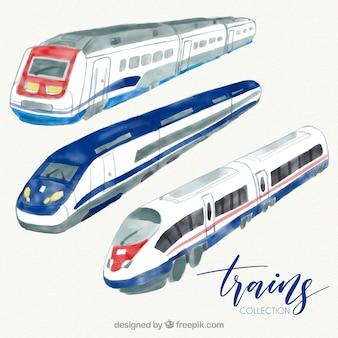 Set di moderni treni ad acquerello