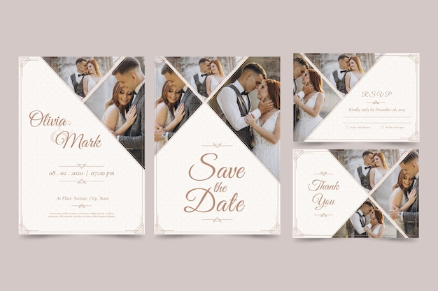 Set of modern wedding invitation with save the date