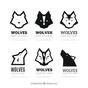 Set of modern wolves logos