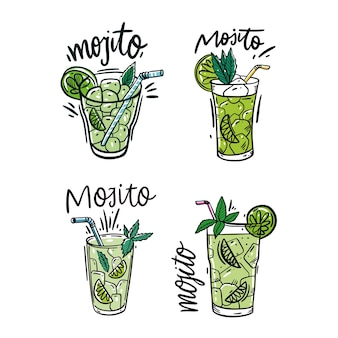 Set of mojito cocktail and watermelon fresh. colorful sketch style and lettering. isolated on white background.