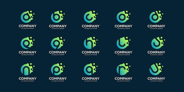 Set of molecule letter logo with modern abstract concept