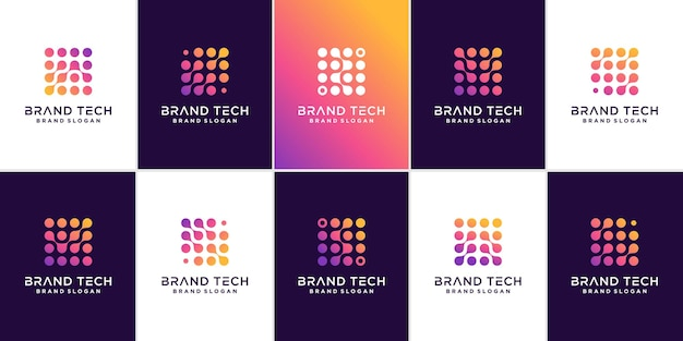 Set of molecule technology logo template with modern abstract concept premium vector
