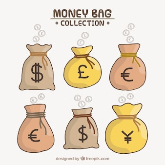Set of money bags with country currencies