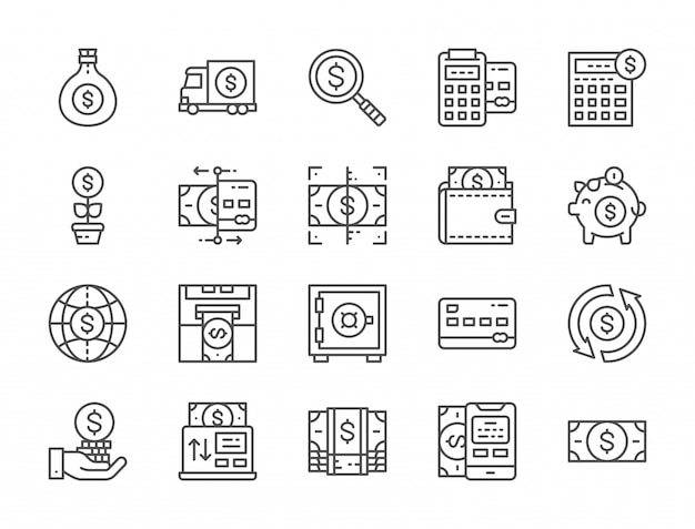 Set of money and banking line icons. online payments, terminal, atm and more.