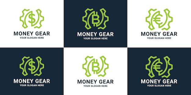 Set of money gear digital logo design