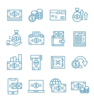 Set of money icons with outline style.