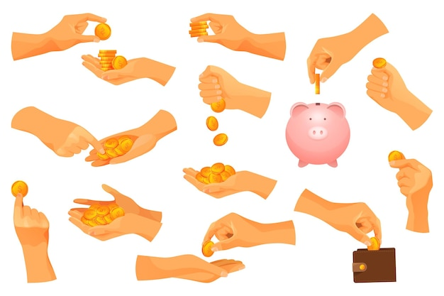 Set of money operations with gold coins