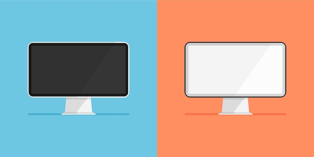 Set of monitor with white and black display empty or blank screen computer icon isolated