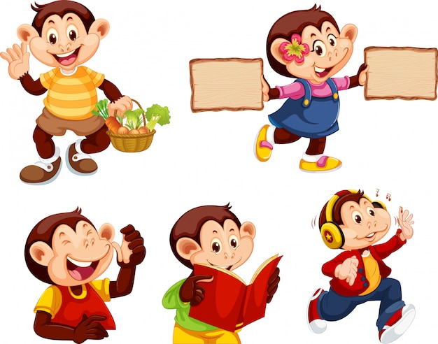 Set of monkey cartoon character