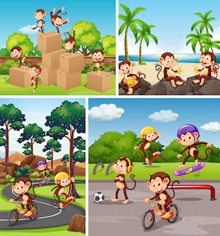 Set of monkey in different background