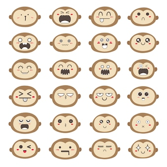 Set of monkey face emoticons, cute monkey character design.