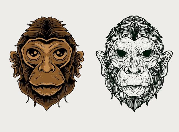 Установить два стиля головы обезьяны