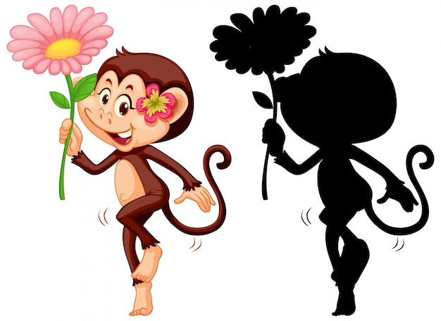 Set of monkey holding flower and its silhouette