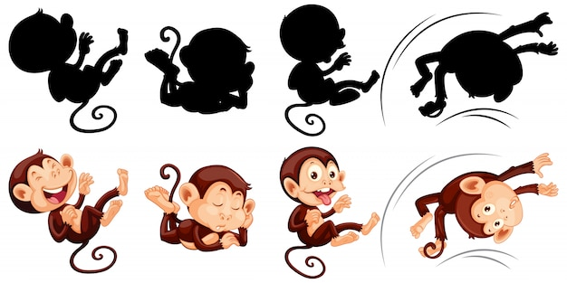 Set of monkey and its silhouette