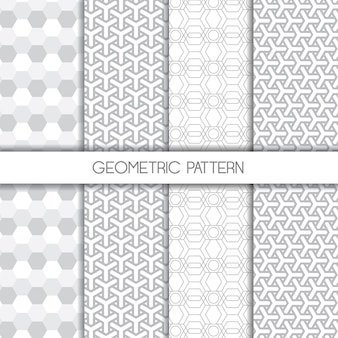 Set of monochromatic geometric elegant seamless patterns