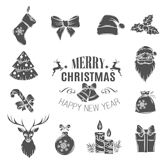 Set monochrome christmas icons.