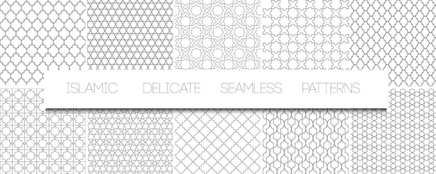 Set of   monochrome delicate islamic seamless patterns. geometric traditional arabian backgrounds. repeating oriental ornaments, textures, black and white ornaments