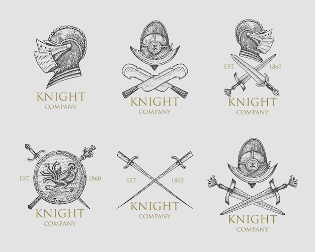 Set of monochrome knights emblems, badges, labels and logos medieval helmet, swords, mace, daggers shield antique vintage symbol , engraved hand drawn in sketch or wood cut style, old looking retro