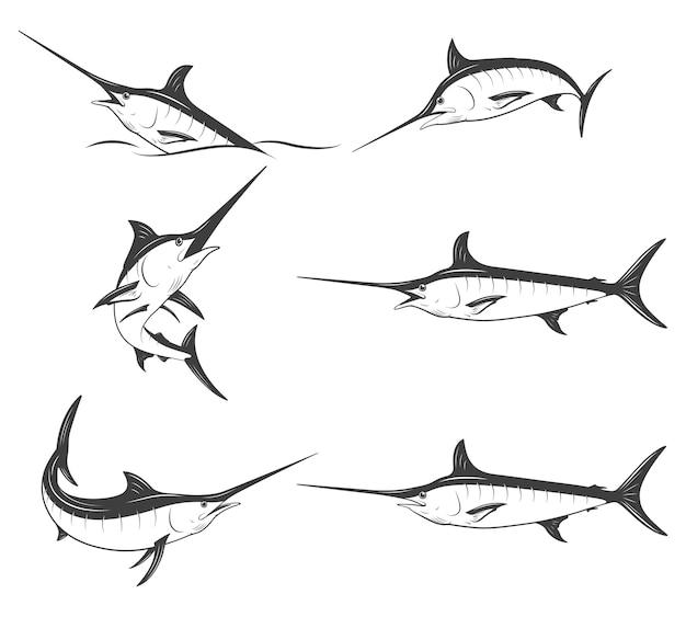 Set of monochrome marlins