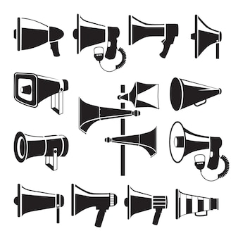 Set monochrome pictures of megaphones. cartoon flat illustration