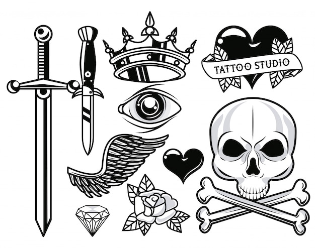 Set of monochrome tattoos graphics