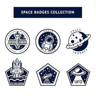 Set of monochrome vintage space and astronaut badges