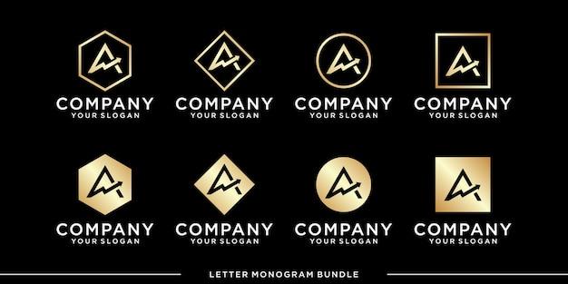Установить монограмму логотип дизайн шаблона вектор