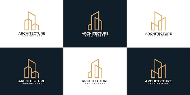Set of monogram architecture real estate graphics property logo design