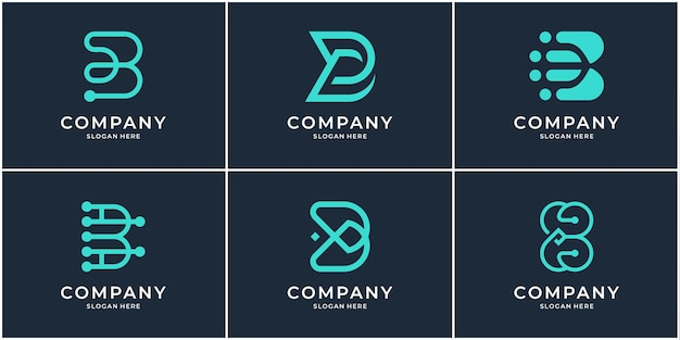 Set of monogram b logo template. creative initial letter bb logo collection.
