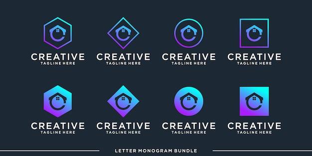 Set monogram c logo design template
