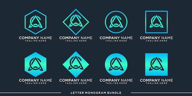 Set monogram a, c logo design template