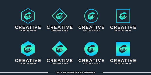 Set monogram c logo design template