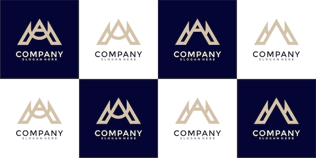 Set of monogram combination letter m and letter a logo