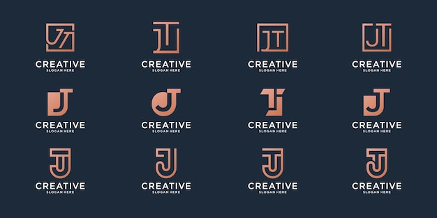 Set of monogram combination letter t and letter j logo