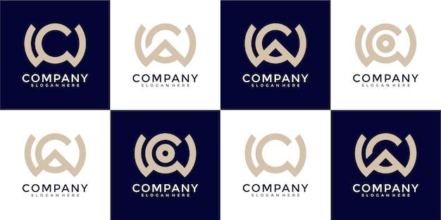 Set of monogram combination letter w and letter c logo