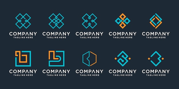 Set of monogram creative letter b logo design template icons for business of technology simple