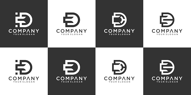 Set of monogram creative letter cd logo template. icons for business of luxury, elegant, simple