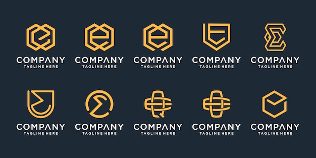 Set of monogram creative letter e logo  template. icons for business of luxury, elegant, simple.