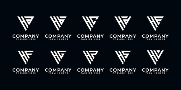 Set of monogram creative letter h and etc logo template. icons for business of luxury, elegant, simple.