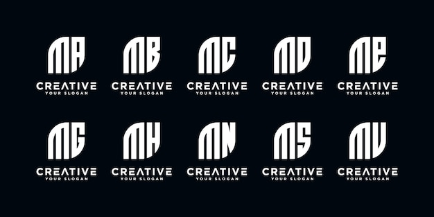 Set of monogram creative letter m and etc logo template. icons for business of luxury, elegant, simple.print