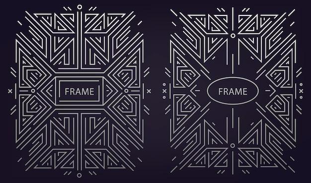 Set of monogram design in trendy vintage and mono line style